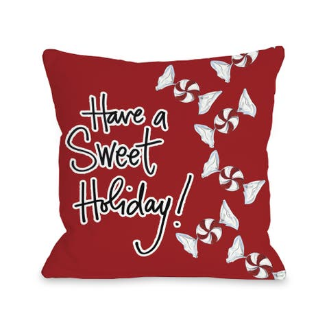 Sweet Holiday - Red White Black Throw 16 or 18 Inch Throw Pillow by Timree