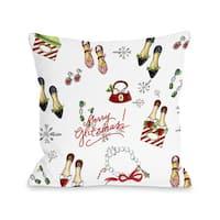 Merry Glitzmas Pattern - White Multi  Throw 16 or 18 Inch Throw Pillow by Timree