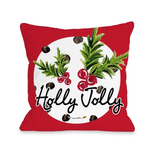 Holly Jolly - Red Multi  Throw 16 or 18 Inch Throw Pillow by Timree