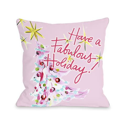 Fabulous Holiday - Pink Multi Throw 16 or 18 Inch Throw Pillow by Timree