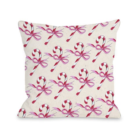 Candy Cane Bows - Beige Pink Throw 16 or 18 Inch Throw Pillow by Timree