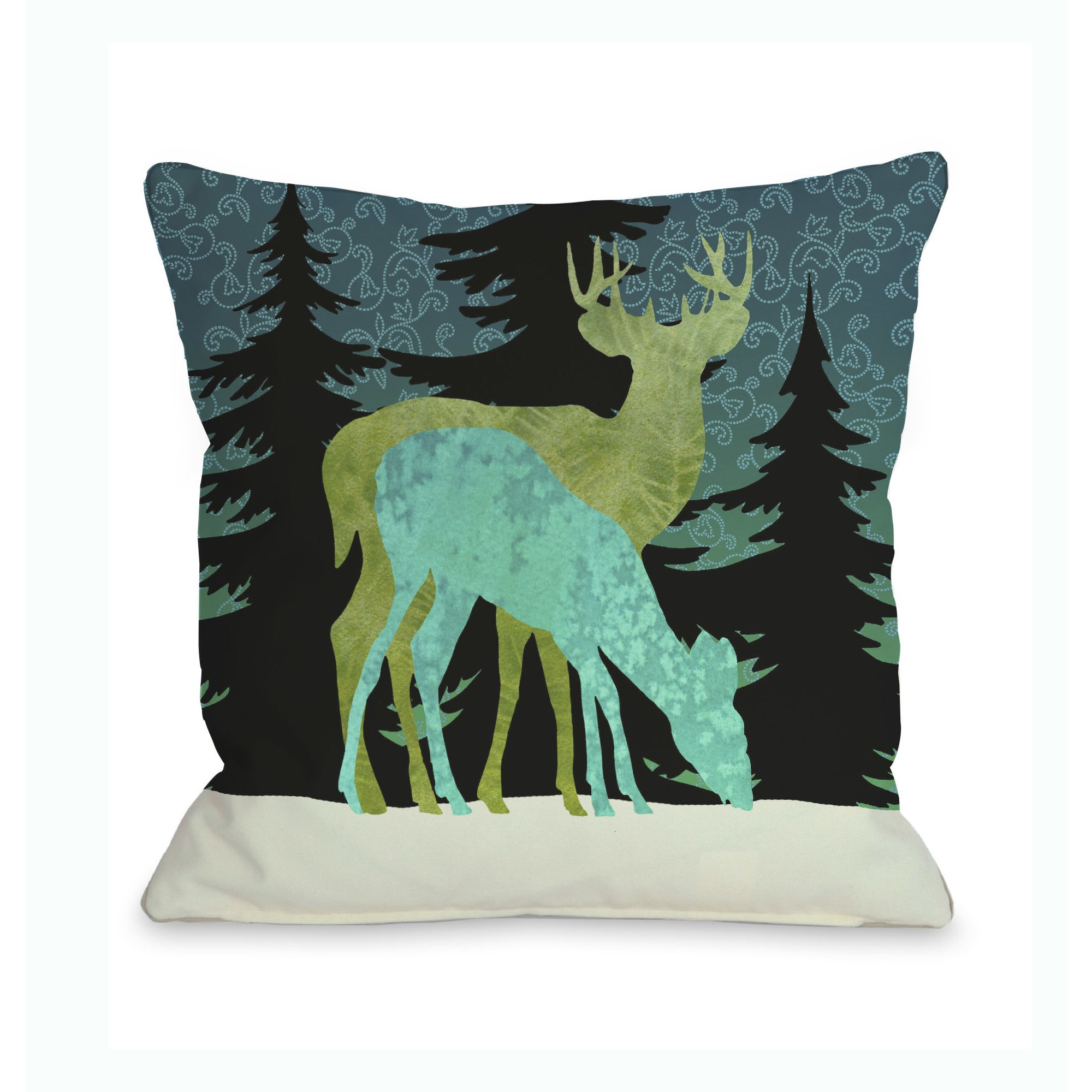 One Bella Casa Silent Night Reindeer Throw 16 or 18 Inch ...
