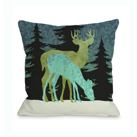 Silent Night Reindeer Throw 16 or 18 Inch Throw Pillow by Kate Ward Thacker