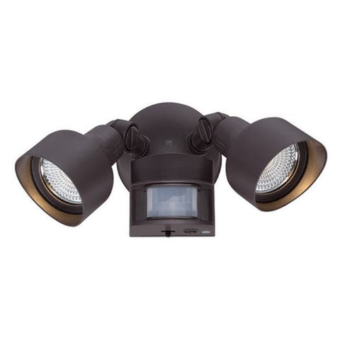 Motion Activated 2-Light Architectural Bronze Outdoor LED Light Fixture