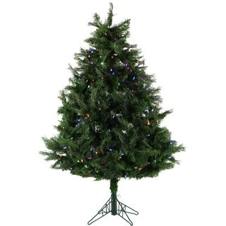 Fraser Hill Farm 5-Ft. Northern Cedar Teardrop Christmas Tree with Multi-Color LED Lights and EZ Connect