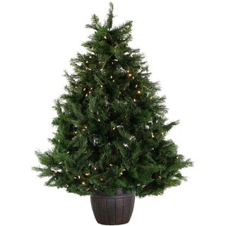 Fraser Hill Farm 5-Ft. Northern Cedar Teardrop Christmas Tree in Decorative Pot with Clear LED Lights