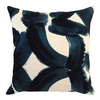 Raye Blue Cotton 22-inch Square Feather Filled Throw Pillow