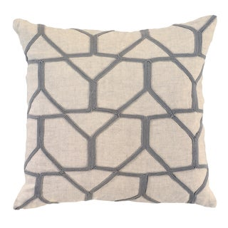 Livvie Grey Linen 18-inch Square Feather Filled Throw Pillow