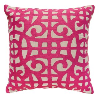 Selena Fuchsia Linen Hand Embroidered 22-inch Square Pillow