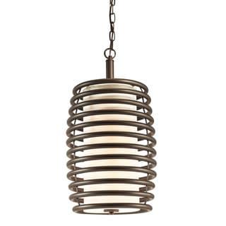 Aztec Lighting Transitional Olde Bronze Steel/Glass/Fabric 2-light Pendant
