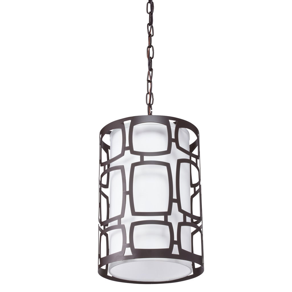 Aztec Lighting Transitional Olde-bronze-finished Steel and Glass 60-watt 2-light Pendant Light With Fabric Shade and Chain