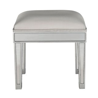 Antique Silver Fabic/Wooden Dressing Stool
