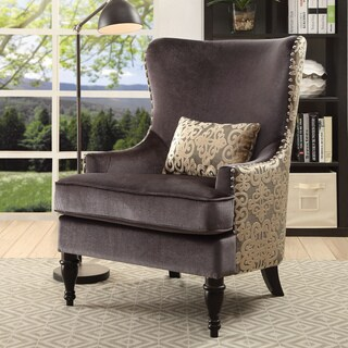 Furniture of America Floreda Traditional Dark Grey Flannelette and Damask Wingback Accent Chair