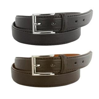 2 Pack of Men's Genuine Leather Belts in Black & Brown