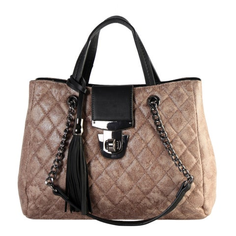 Diophy Metal Color Quilted Pattern 3-Ways Use Tote