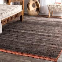 Carbon Loft Frank Handmade Flatweave Stripe Dark Grey Tassel Area Rug - 5' x 8'