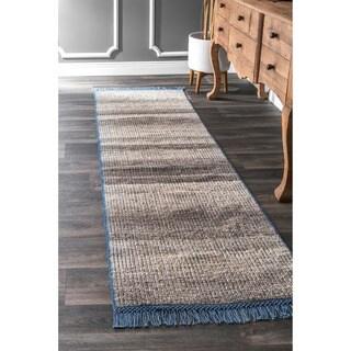 nuLoom Modern Flatweave Stripes Beige Cotton/Wool Tassel Runner (2'6 x 8')