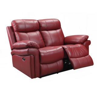 Hudson Power Reclining Top Grain Leather Loveseat (Brown/ Blue/ Red) (Option: Red)