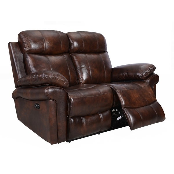 Hudson Power Reclining Top Grain Leather Loveseat (Brown/ Blue/ Red)  sc 1 st  Overstock.com : leather loveseat power recliner - islam-shia.org