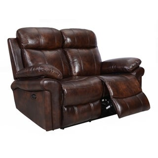 hudson power reclining top grain leather loveseat brown blue red