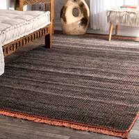 Pine Canopy San Juan Flatweave Striped Dark Grey Handmade Tassel Area Rug (7'6 x 9'6)