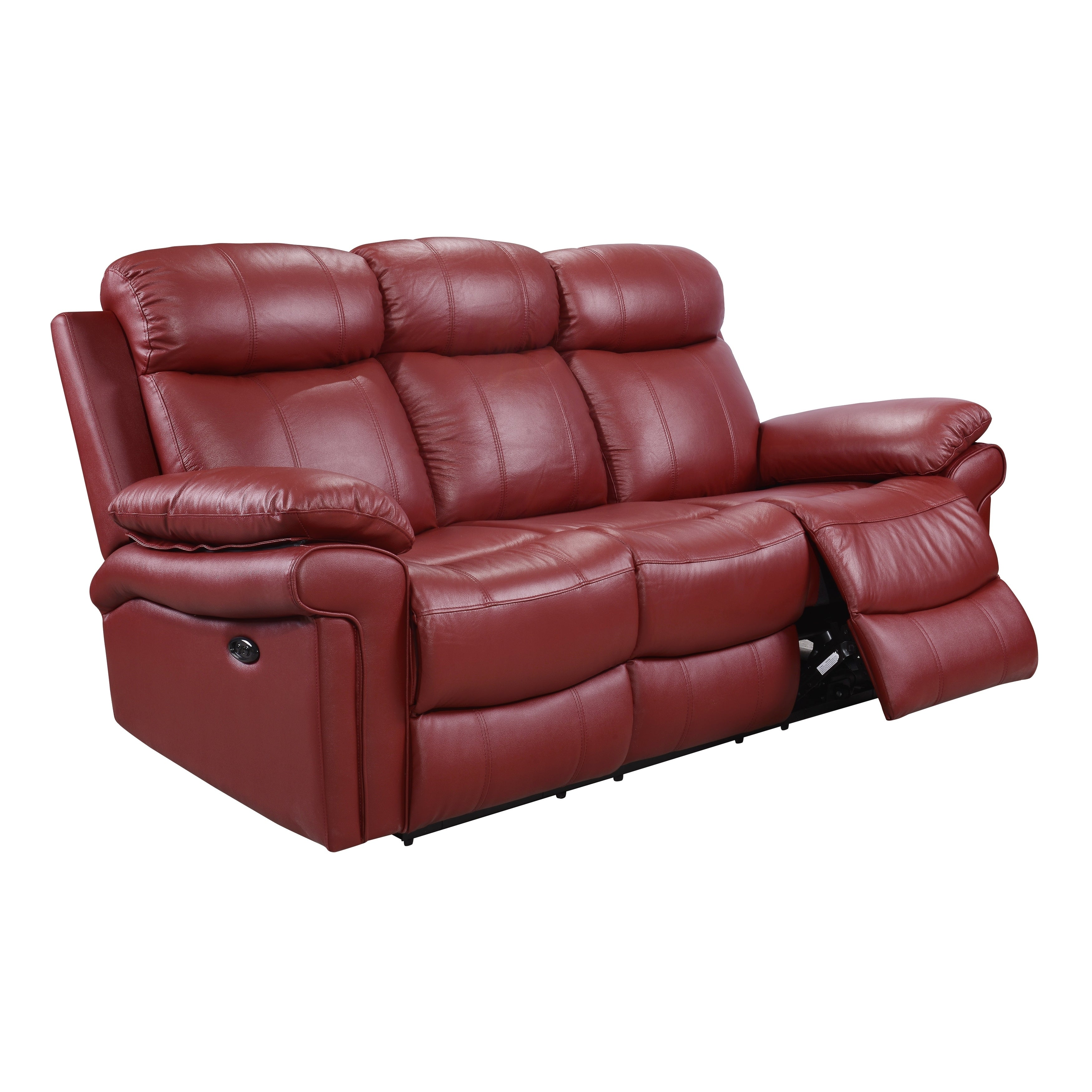 Hudson Power Reclining Top Grain Leather Sofa (Brown/ Blue/ Red) (2