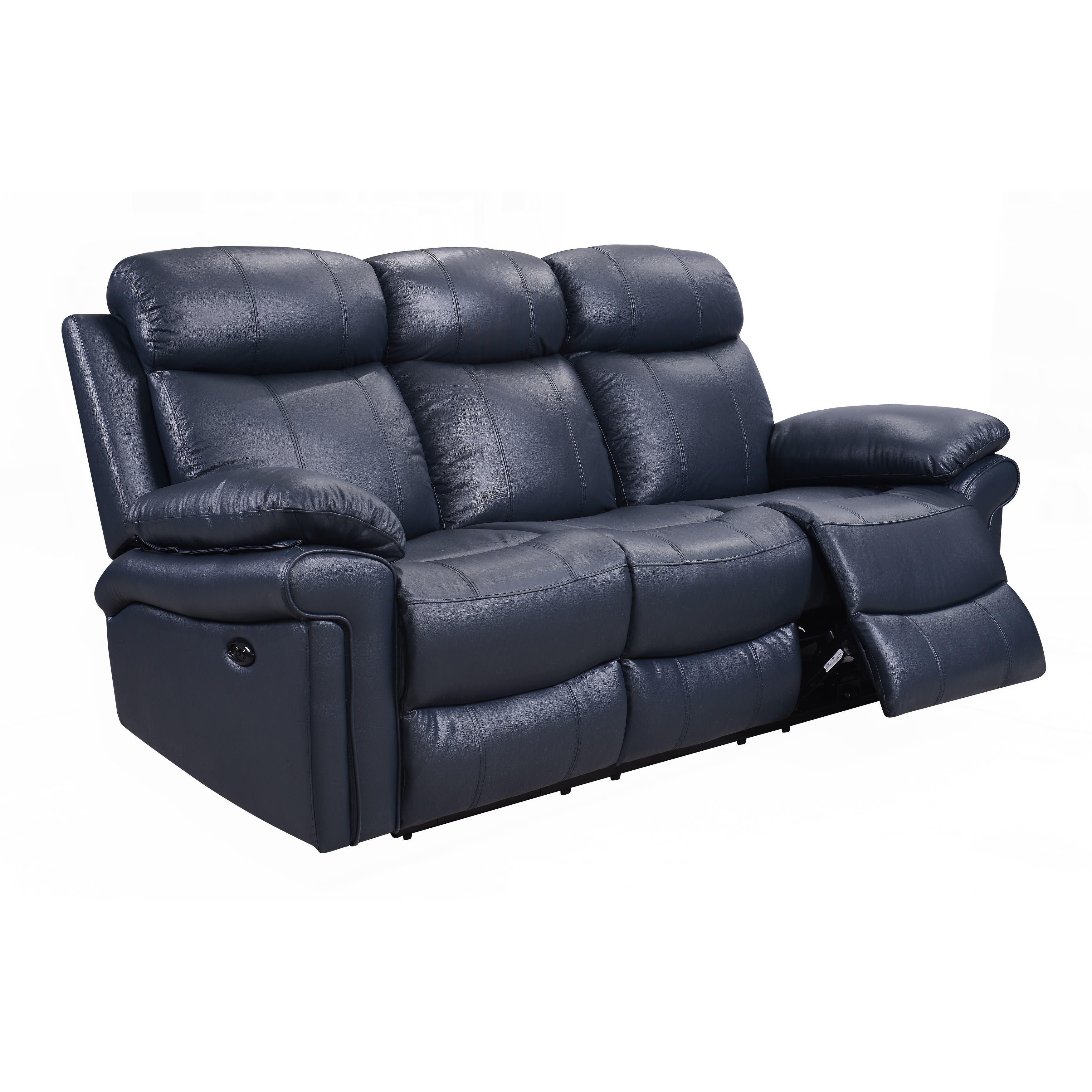 Sofas couches loveseats for less for Blue leather reclining sofa