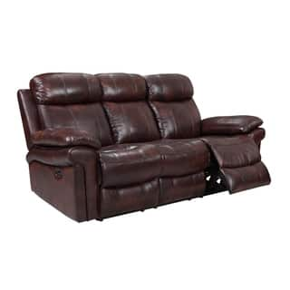 Hudson Reclining Top Grain Leather Sofa Brown Blue Red