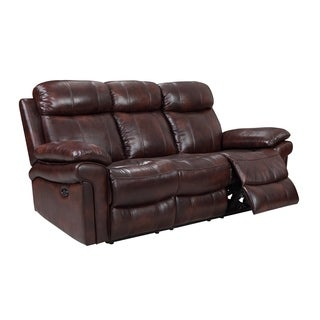 Hudson Power Reclining Top Grain Leather Sofa (Brown/ Blue/ Red) (Option