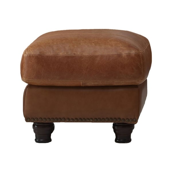 Nathan Top Grain Italian Leather Ottoman
