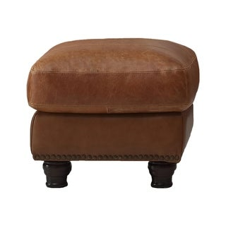 Nathan Top Grain Italian Leather Ottoman