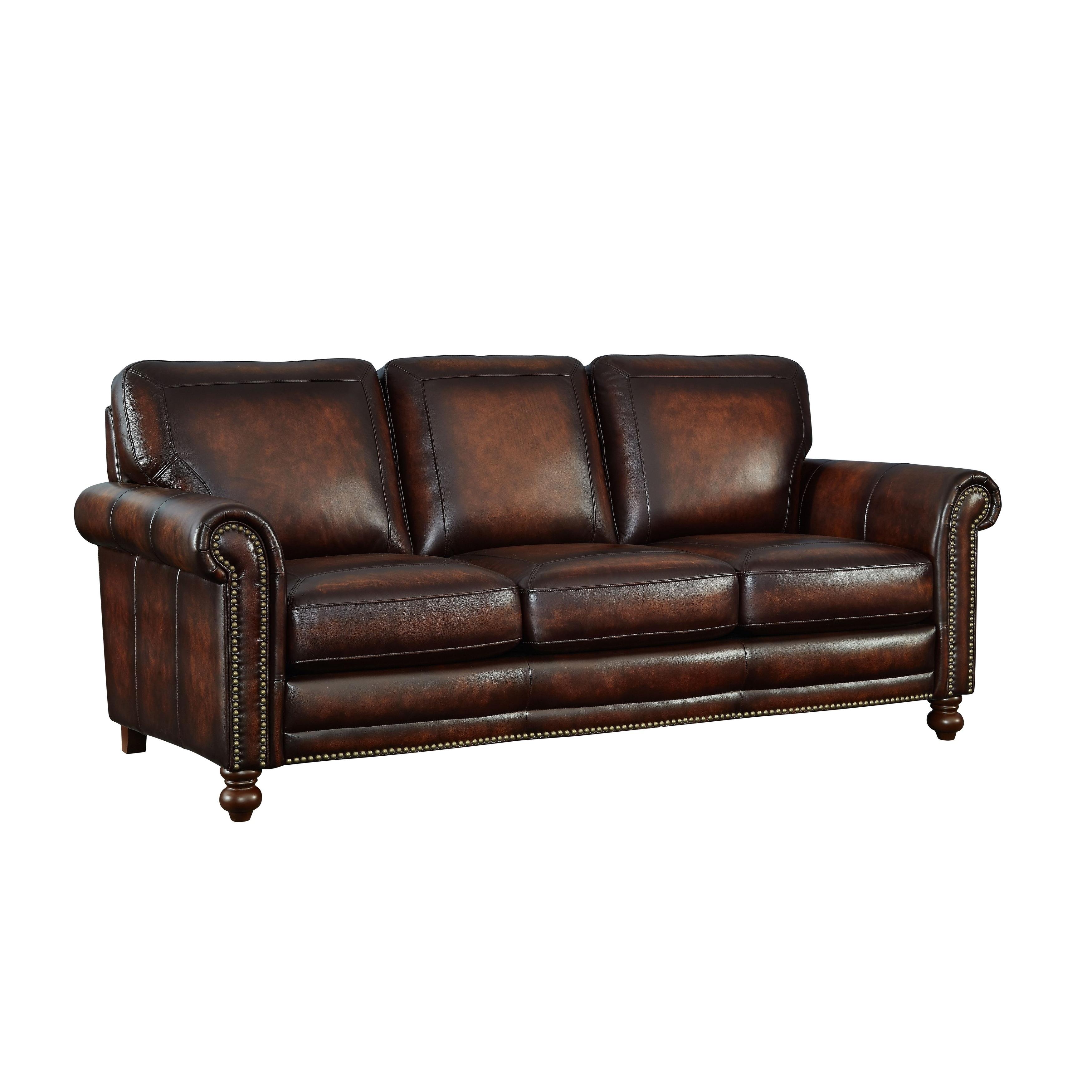 Grayson Hand Rubbed Top Grain Italian Leather Sofa