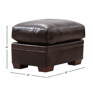 Ashton 100% Top Grain Italian Leather Ottoman