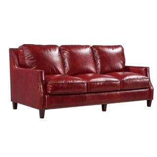 braxton 100 top grain italian leather sofa - Red Leather Sofa