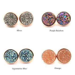 Gemsbaby 24K Rose Gold Vermeil Round Druzy Quartz Gemstone Stud Earring