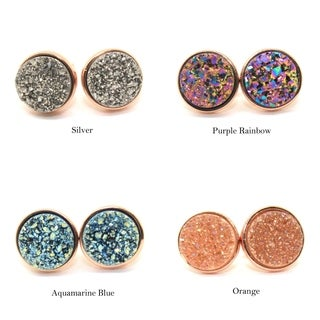 Gemsbaby 24K Rose Gold Vermeil Round Druzy Quartz Gemstone Stud Earring