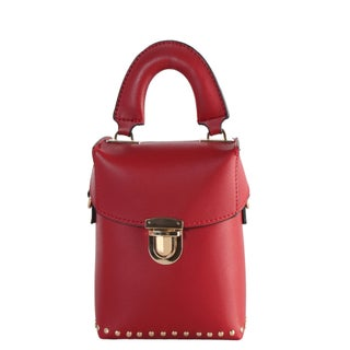 Diophy Small Top Handle Bucket Bag with Removable Strap (Option: Khaki - Red)