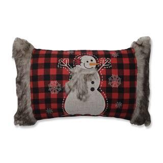 Pillow Perfect Fur Snowman Oblong Red/Black Rectangular Throw Pillow