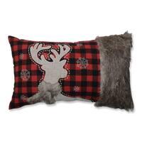 Pillow Perfect Fur Reindeer Oblong Red/Black Rectangular Throw Pillow