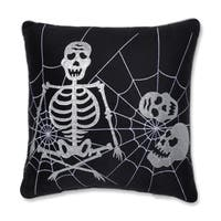 Pillow Perfect Skeleton in Web Black 17-inch Throw Pillow