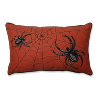 Pillow Perfect Spider Web Embroidery Orange Rectangular Throw Pillow