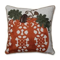 Pillow Perfect Fancy Embroidered Pumpkin Orange 16-inch Throw Pillow