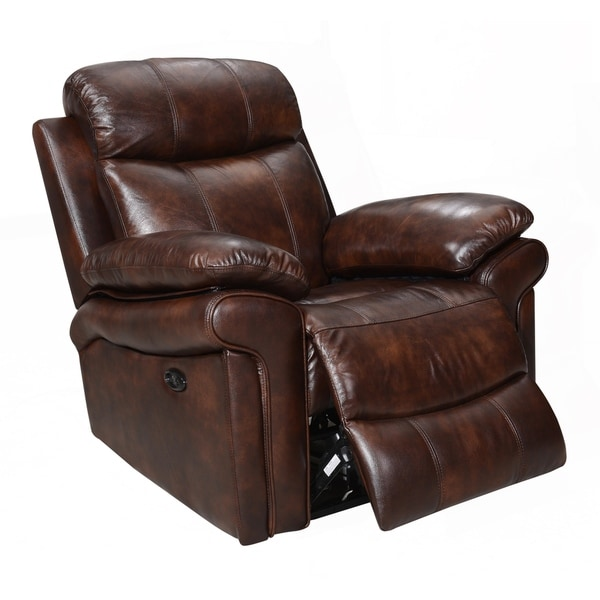 Overstock Furniture Clearance: Shop Hudson Top Grain Leather Power Recliner (Brown/ Blue