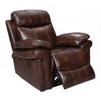 Hudson Top Grain Leather Power Recliner (Brown/ Blue/ Red)