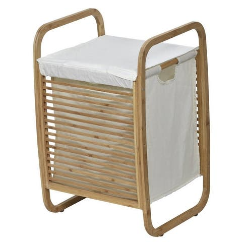 Evideco Laundry Hamper Basket Clothing Organizer Bamboo White Fabric - 14 L x 15.8 W x 23.10 H