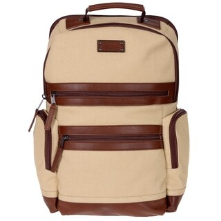 Canvas Backpack W/ Genuine Leather Trim