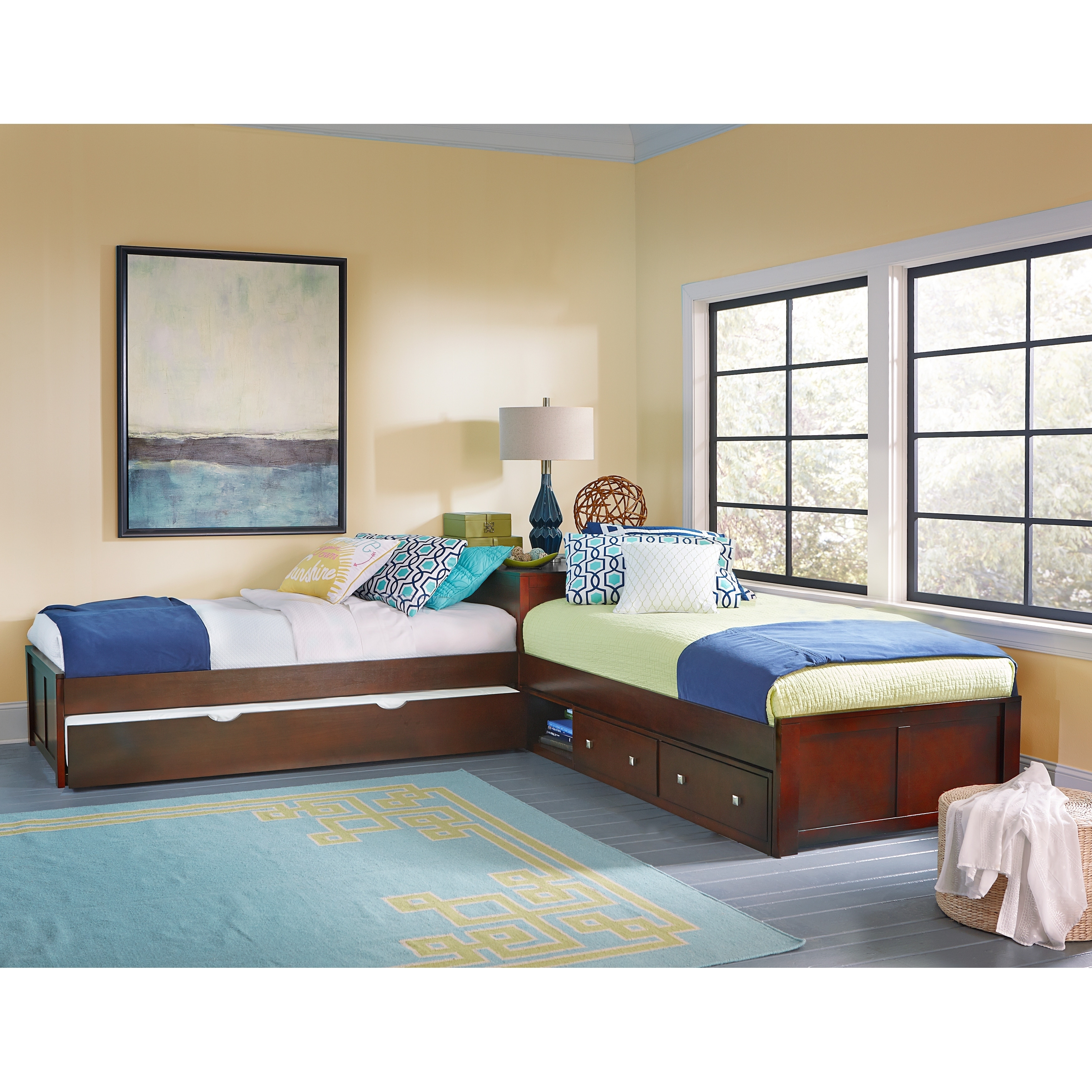 Hillsdale Pulse L-Shape Bed with Storage and Trundle, Cherry