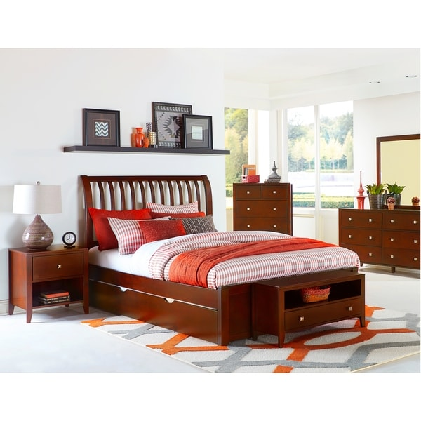 Hillsdale Pulse Queen Rake Sleigh Bed with Trundle, Cherry