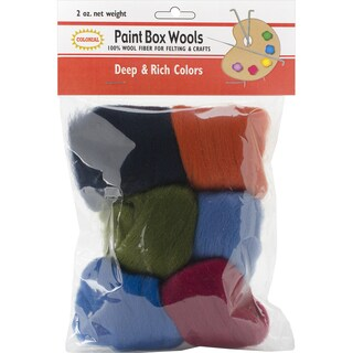 Paint Box Wools .33oz 6/Pkg-Deep & Rich -Olv/Nvy/Red/Orn/Roy/Teal