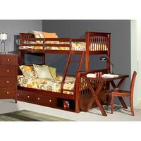 Hillsdale Pulse Twin Over Full Bunk with Storage, Cherry